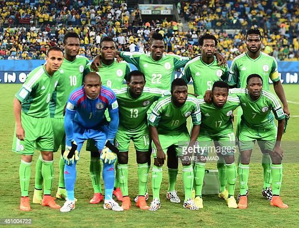 Nigeria's team forward Peter Odemwingie midfielder John Obi Mikel forward Emmanuel Emenike defender Kenneth Omeruo defender Efe Ambrose defender...