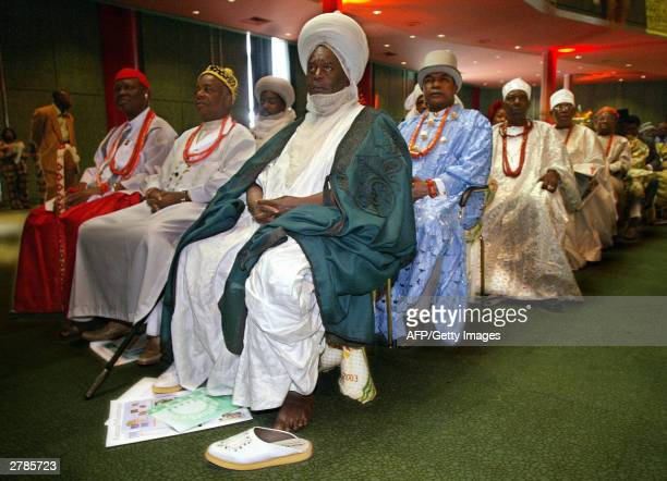 Nigeria's tribal chiefs attend the opening ceremony of a Commonwealth heads of government meeting in Abuja Nigeria December 5 2003 The fourday summit...