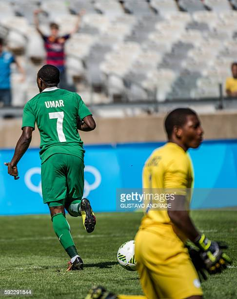 Nigeria's Umar Aminu celebrates after scoring against Honduras during the Rio 2016 Olympic Games men's bronze medal football match at the Mineirao...