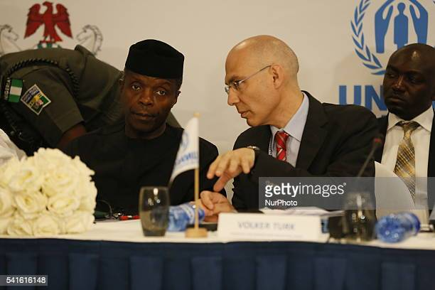 Nigeria's Vice President Yemi Osinbajo with Volker Turk Director of International Protection United Nations High Commissioner for Refugees during the...