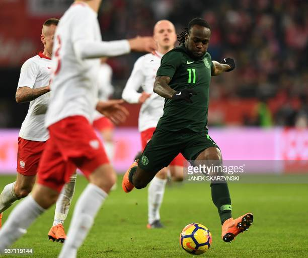 Nigeria's Victor Moses scores during the international friendly football match of Poland vs Nigeria in Wroclaw Poland on March 23 in preparation of...
