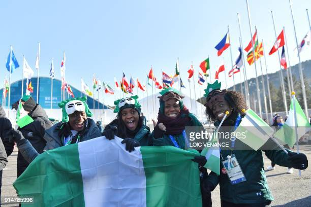 TOPSHOT Nigeria's women's bobsleigh and skeleton team members Seun Adigun Ngozi Onwumere Akuoma Omeoga and Simidele Adeagbo attend a welcoming...