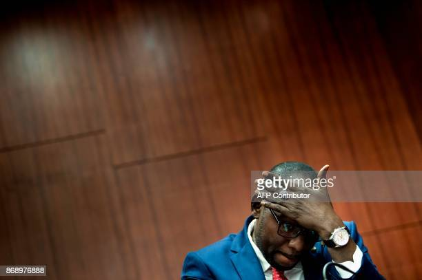 Niger's Foreign Minister Ibrahim Yacoubou listens during an event at the Center for Strategic and International Studies November 1 2017 in Washington...