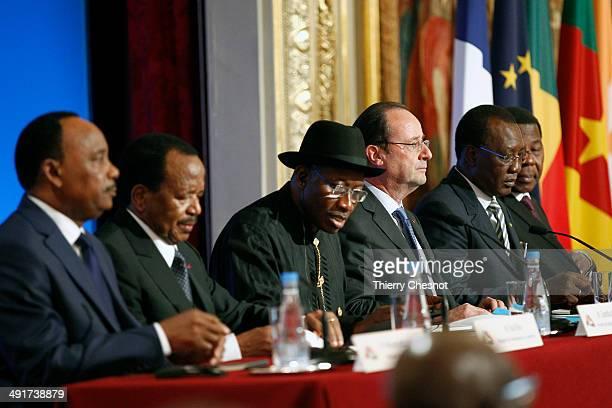 Niger's president Mahamadou Issoufou Cameroon's president Paul Biya Nigeria's president Goodluck Jonathan French president Francois Hollande Chad's...