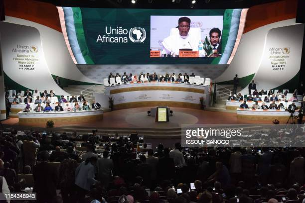Niger's President Mahamadou Issoufou delivers a speech during the African Union summit at the Palais des Congres in Niamey on July 7 2019 African...