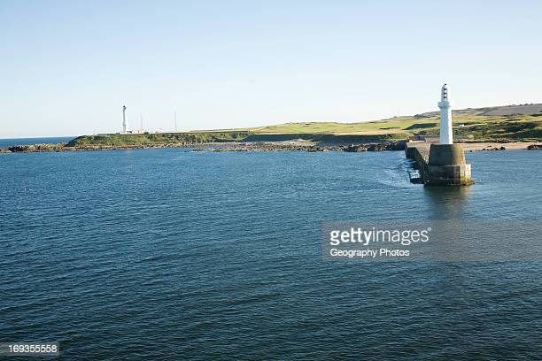 Nigg Lighthouse harbor entrance Aberdeen, Scotland