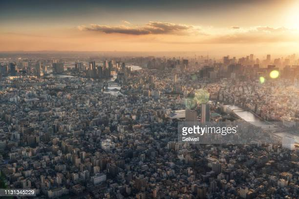 nigh view of tokyo from sky tree - financiën en economie stockfoto's en -beelden