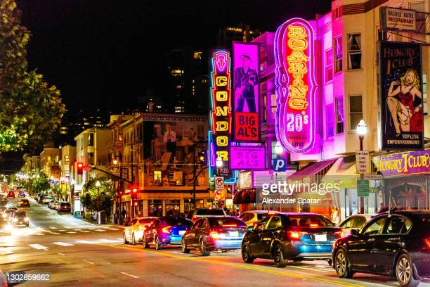 nighlife in north beach district, san francisco, usa - north beach san francisco stock pictures, royalty-free photos & images