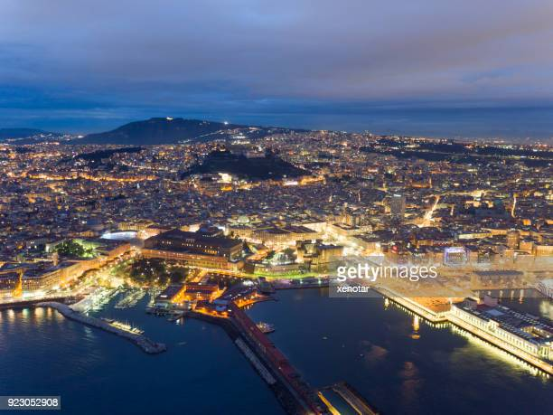 night aerial view of naples downtown - napoli stock pictures, royalty-free photos & images