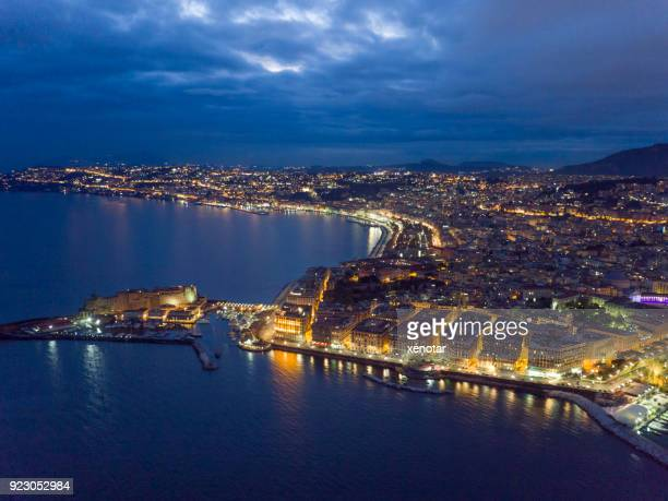 Night aerial view of Naples downtown