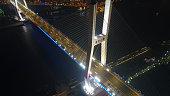 Night aerial view of Shanghai Nanpu bridge