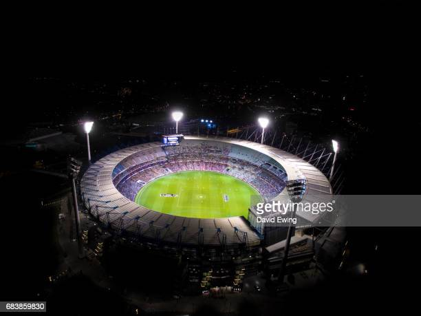 A night aerial view of the Melbourne Cricket Ground, Melbourne.