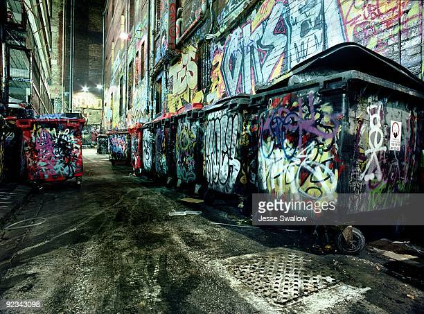 Night Alley with Dumpsters and Graffiti