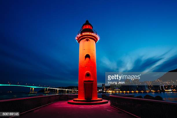 CONTENT] Night at Red Lighthouse on the Breakwater Busan South Korea