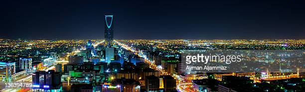 night at riyadh, saudi arabia - skyline stock pictures, royalty-free photos & images