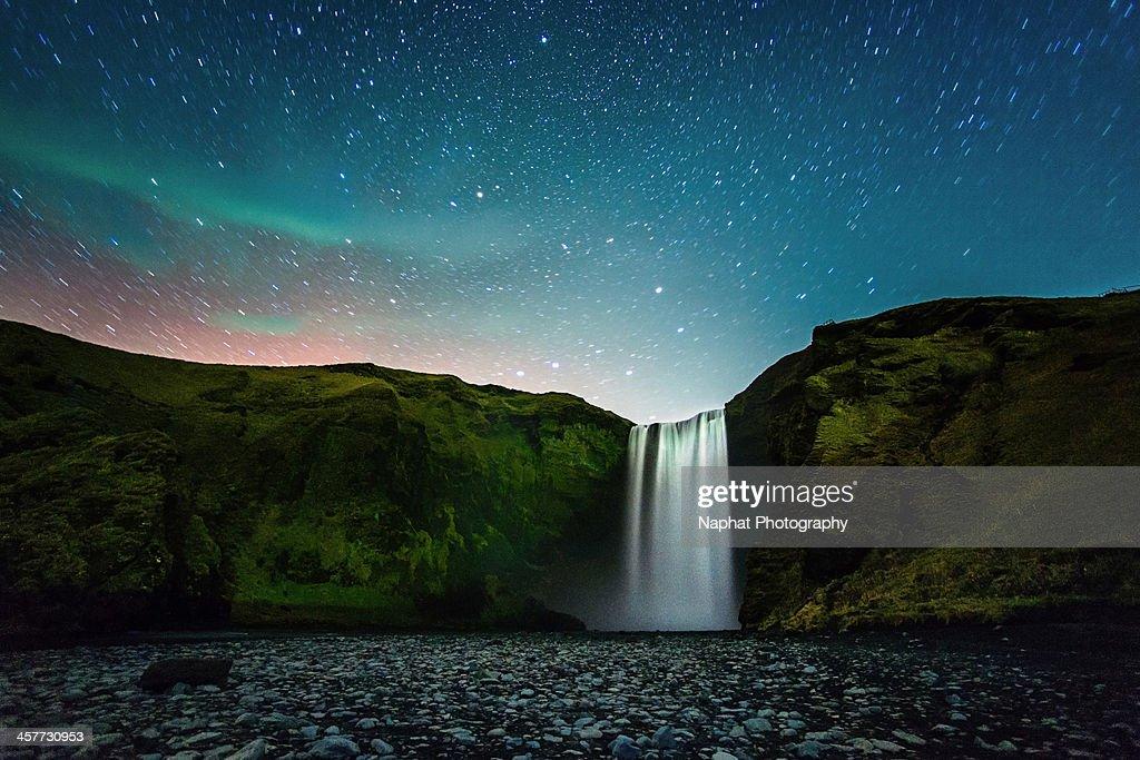 Night at Skógafoss : Stock-Foto