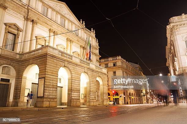 night at teatro alla scala in milan - la scala theatre stock pictures, royalty-free photos & images
