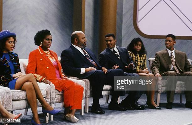AIR 'A NIght at the Oprah' Episode 9 Pictured Karyn Parsons as Hilary Banks Janet Hubert as Vivian Banks James Avery as Philip Banks Alfonso Ribeiro...