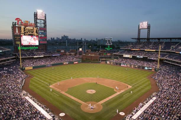 Night baseball game at Citizens Bank Park in Philadelphia