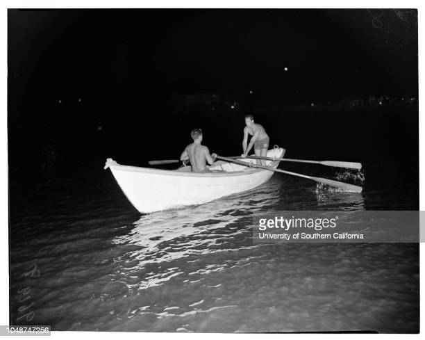 Night bathing at Colorado Lagoon 21 June 1952 Leonard Park 17 years Albert Adams 17 years Harold Wiebenga 17 years Sally Conley 15 years Bob Hamilton...
