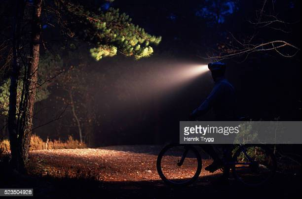 Night Bicycling with Strong Headlamp