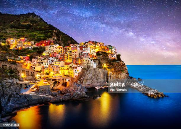 night blue hour manarola cinque terre liguria italy milky way