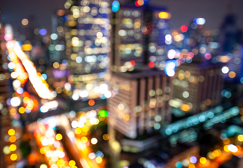 Night blurred bokeh light city office building, abstract background - gettyimageskorea