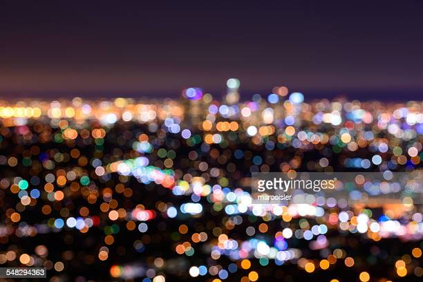 Night bokeh view of LA, California, USA