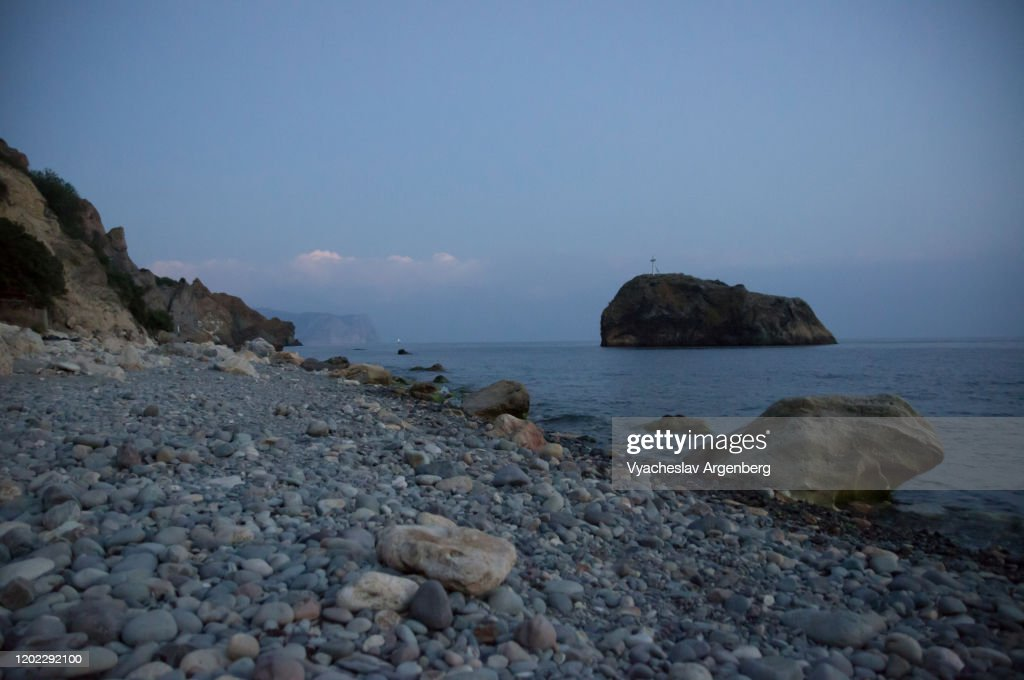 Night by the sea, long exposure, Crimea : Stock Photo