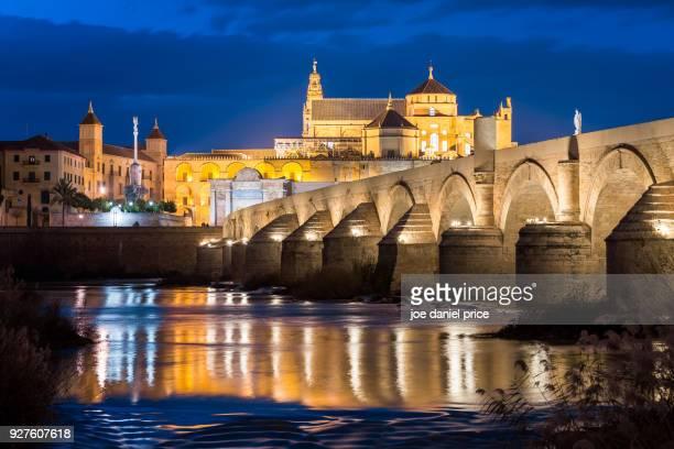 Night, Cathedral of Córdoba, Puente Romano, Cordoba, Spain