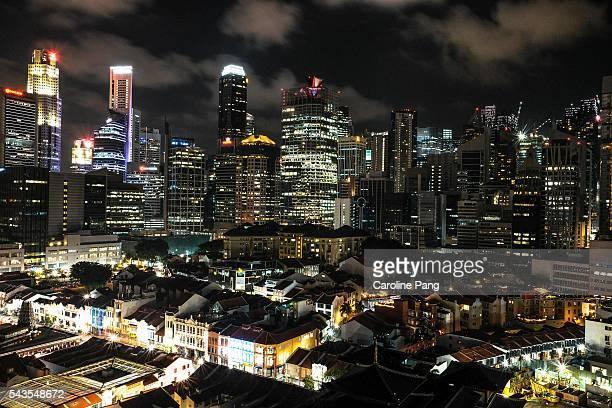 night cityscape and skyline, singapore - 1939 stock-fotos und bilder