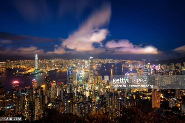 Night cityscape from top view in Hongkong