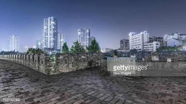night cityscape of changzhou, zhejiang, china - changzhou stock pictures, royalty-free photos & images