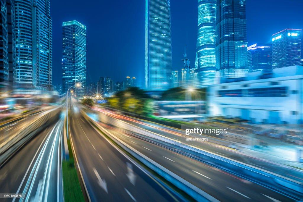 night cityscape of shanghai : Stock-Foto