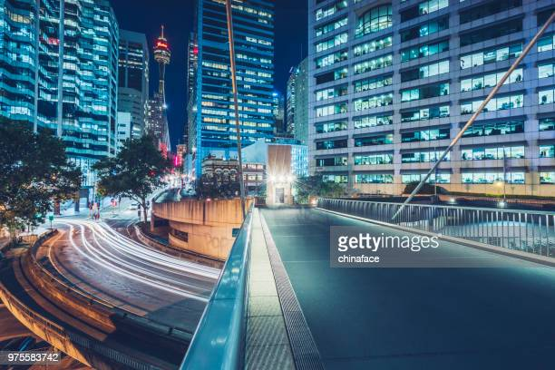 night cityscape of sydney downtown - sydney stock pictures, royalty-free photos & images