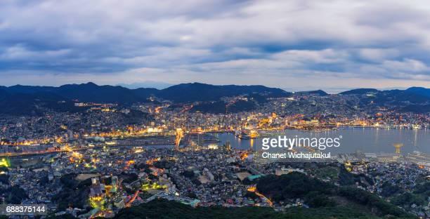 Night Cityscape Panorama of Nagasaki City