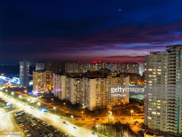 night cityscape view after sunset - kiev stock pictures, royalty-free photos & images