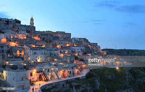 night cityscape view of matera sassi, basilica, italy - basilicata region stock pictures, royalty-free photos & images
