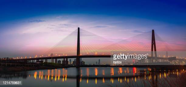 night cityscape with bridge water transport tianjiin china - tianjin stock pictures, royalty-free photos & images