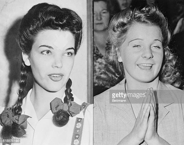 Night Club dancer Peggy Satterlee wearing youthful pigtails and jumper prepares to tell the court about her relations with actor Errol Flynn Betty...