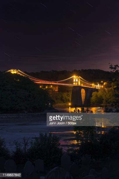 night crossing - menai straits stock pictures, royalty-free photos & images