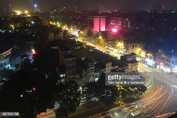 Night crossroad in Hanoi