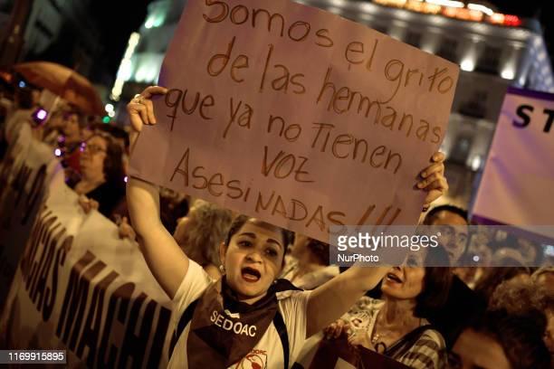 Night demonstrations whith violet light against genderbased violence in Madrid on 20th September 2019