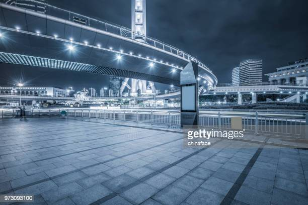 night downtown cityscape of shanghai