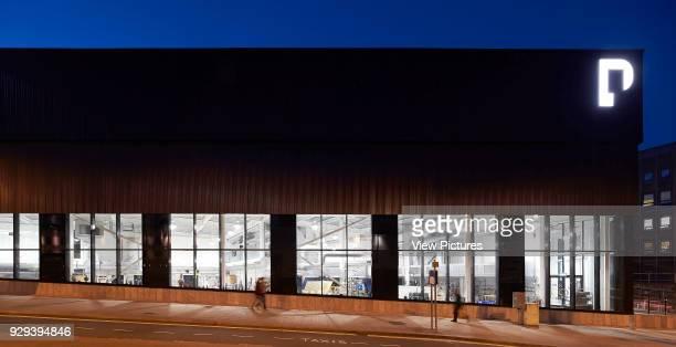 Night elevation with illuminated interior Plymouth College of Art Plymouth United Kingdom Architect Feilden Clegg Bradley Studios LLP 2016