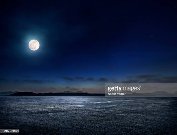night empty parking lot - moonlight stock pictures, royalty-free photos & images