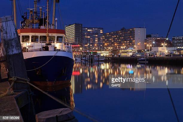 night falling over the harbour of Scheveningen