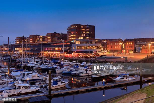 night falling over the marina of Scheveningen
