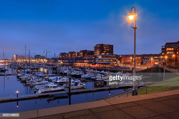 night falling over the marina of Scheveningen