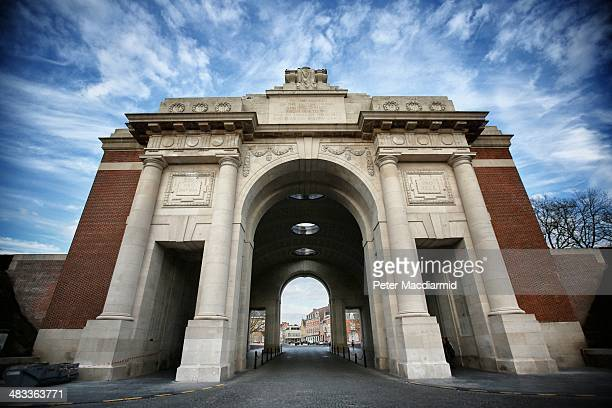 Night falls at the Menin Gate Memorial to the Missing on March 26 2014 in Ypres Belgium A number of events will be held this year to commemorate the...